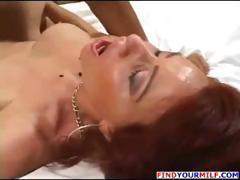 Busty redhead mom shows her ass and gets both holes drilled
