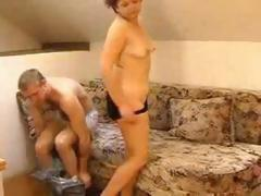 Brunette Russian mom gets a young cock to eat and get banged by