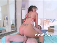 Big assed brunette pornstar slides her pussy down a big cock