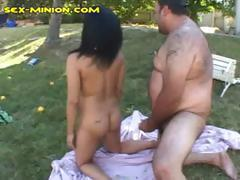 Ebony girl is getting fucked by hairy fat guy in the back yard
