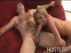 Blonde hottie Madison Scott gulps down cock and gets plugged