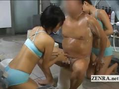 CFNM Japan sauna ladies wash client and give handjob
