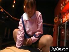 Japanese woman straddles me while jerking me off and then I fuck her