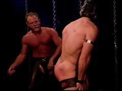 Masked bodybuilder restrained, gagged, hooded  has his big manly bubble butt flogged and whipped.
