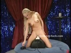 Blonde with huge long hair playing in strip club ends up filled with large toys
