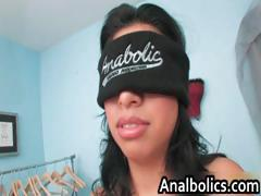 Blindfolded busty latina sucking big part6