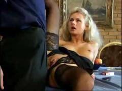 Blonde gets drilled in the ass for a gaping hole and gets cum