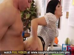 Brunette Bobbi Starr is blowing and banging her boss to keep her job