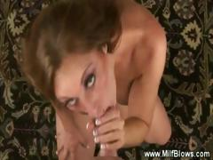 Mature sucks balls and gets her boobs fucked