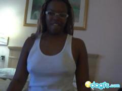 Nerdy black amateur chick in a POV blowjob and rough ebony fuck
