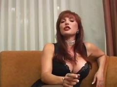 Hot mature MILF Vanessa smokes two kinds of cigars, one emits smoke and the other emits cum