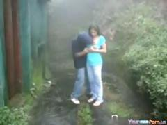 Cute Teen Fucks Her BF In The Rain