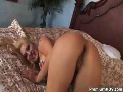 Slutty blonde Rebecca Steel takes his stiff tool in all her holes