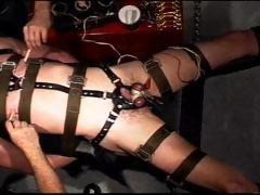 Extreme electro, balls tied tight, suspended in chain and restrained in straps I use vibrator on him