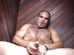 Str8, sexy, muscular, big hard bubble butt, hairy first time dildo use and very verbal about it.