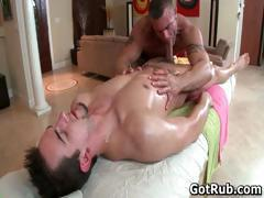 Hunky dude gets his smooth body massaged part1