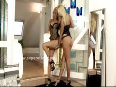 Pair of blondes with sexy asses undress and play in lesbian amateur fuck video