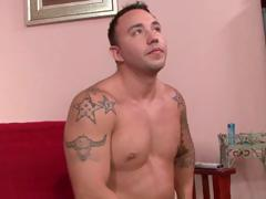 Str8 hunky dude lets himself be seduced by his hot bisexual Latino buddy into doing gay sex.