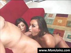 Mom and daughter take turns sucking cock and getting fucked